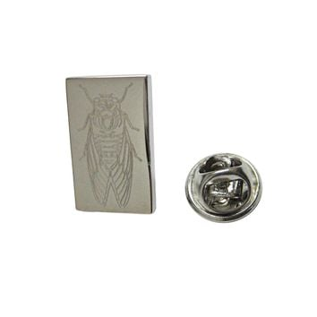 Silver Toned Etched Cicada Bug Lapel Pin