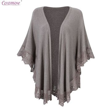 Coromose 2017 Spring Autumn Plus Size Women Knitted Poncho Capes Cardigans Lace Sweater Cardigan Coat Wrap Wool Sweater
