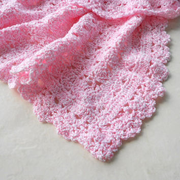 Baby Pink Crochet Blanket - baby girl, newborn, baby shower gift, afghan, lap blanket, stocking stuffer