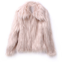 Blush Pink Vintage Style Faux Fur Coat