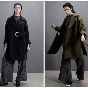 oversized coat,oversized jacket,wool coat,wool jacket,high fashion,minimalist,winter coat,winter jacket,black coat,green jacket..--E0590