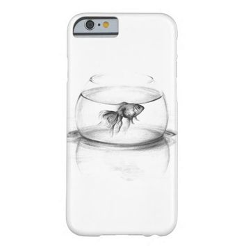 Goldfish in a bowl pencil art iPhone 6 case