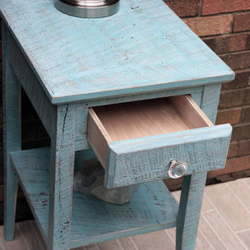"End Table with Shelf, Reclaimed Wood, ""Turquoise Breeze"", Rustic Contemporary - Handmade"