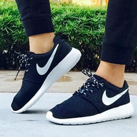 """NIKE"" Roshe One Women Casual Sport Shoes Sneakers Black white hook"
