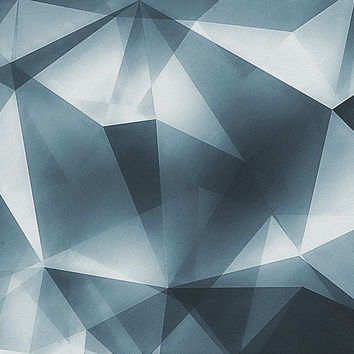 'Abstract geometric triangle pattern ( Carol Cubism Style) in ice silver - gray' by badbugs