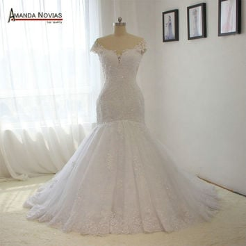 Sexy Backless China Lace Mermaid Wedding Dresses 2016 Wedding Gowns Bridal Bride Dresses robe de mariage
