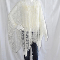 Lace Kimono Wrap/ Ivory Lace Poncho Wrap/ Lightweight Cover Up/ Romantic Shawl/ Cheer Cardigan/ Boho Chic Clothing