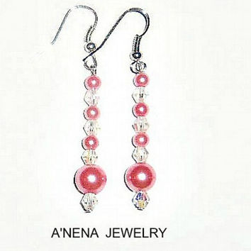 "Earrings: Swarovski Pearls &Swarovski Elements- Dark Pink ""Glamorous!"" Same Business Day Shipping world wide, Free shipping in the USA"