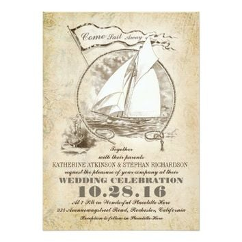 Nautical yacht wedding invitation-Come Sail Away