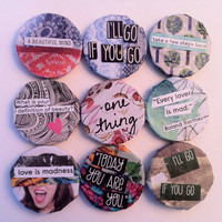 Upcycled Graphic Round 1inch Fridge Magnets: Choose The One You Like Best
