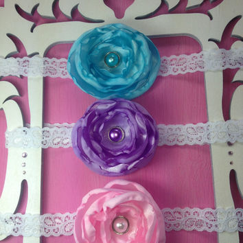 chooose your colors, satin flower headbands, baby hair clips, infant headbands, satin headbands, newborn headbands, little girl hair clip