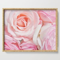 pink roses Serving Tray by sylviacookphotography
