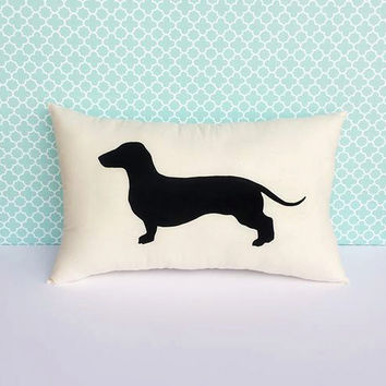 Dachshund Dog Silhouette Throw Pillow, Decorative Pillow, Home Decor, Dog Pillow, Dorm Decor, Christmas Gift, Gift for Her, Gift for Mom