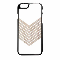 White Geometric Minimalist With Wood Grain iPhone 6 Plus Case