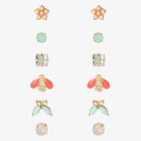 Butterfly Gemstone Stud Earring Set