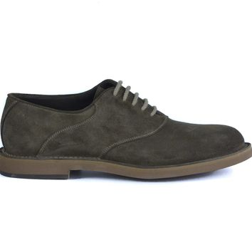 Brunello Cucinelli Mens Olive Suede Lace Up Derby Oxfords