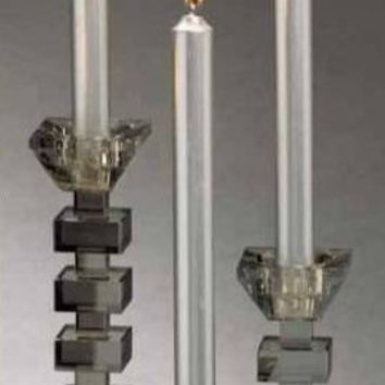 Smoky Crystal Candleholders by Zodax