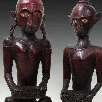"Vintage Tanimbar Ancestor Figure/ 11.4"" And 10.75"" Tall Pair Of Seated Male Female Ancestor Sculpture.Indonesia Ethnographic Tribal Art