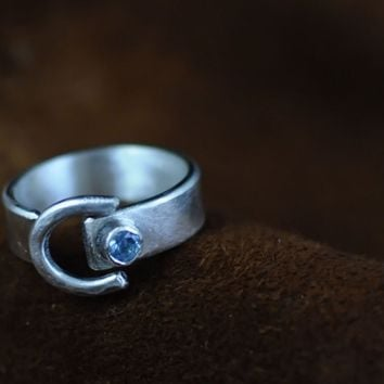 Sterling Silver Open Horseshoe Ring with Swarovski Crystal