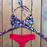 2015 Sexy Women's Bikini Set Summer Beach Bra Floral Swimsuit Push-up Swimwear
