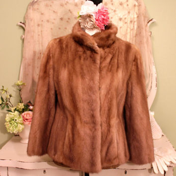 1950s Vintage Fur,  LLoyds Mink Jacket, 50s Retro Winter Jacket, Jackie O Style Furs, Excellent Condition Mink Jacket,  Women's Size Medium