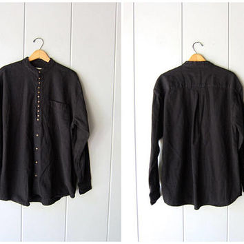 Minimal Black Cotton Button Up Shirt Vintage 90s Basic Long Sleeve Blouse Mini Buttons Simple Collarless Shirt Modern Mens Large Womens XL