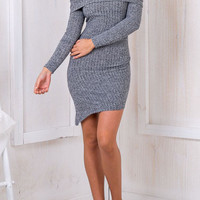 Grey Foldover Off The Shoulder Bodycon Sweater Dress