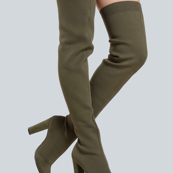 Stretch Knit Thigh High Booties OLIVE | MakeMeChic.COM