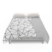 """Society6 Abstraction Outline Grid On Side White Duvet Covers Queen: 88"""" x 88"""""""