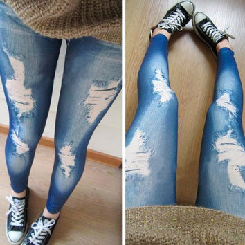 Women Legging Strenchy Fitness Casual Ripped Jeggings New Fashion Trend Solid Leggings Roupas [7638670854]