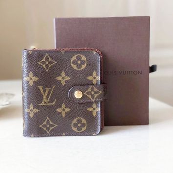 LV Louis Vuitton Monogram Coated Canvas Button Wallet Brown B-MYJSY-BB
