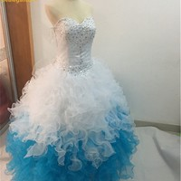 New Elegant White/Blue Quinceanera Dresses 2017 Ball Gown Sweetheart Ruffled Beading Crystals 15 Years Vestidos De 15 Anos QA160