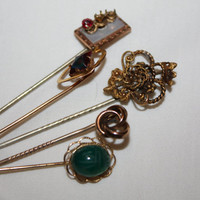 Fall Sale Vintage Antique Stick Pin Victorian Jewelry Lot 1910s Brooch