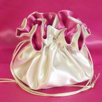 Wedding Bag  Satin Bridal Money Purse  Ivory and Fuchsia  No Pockets