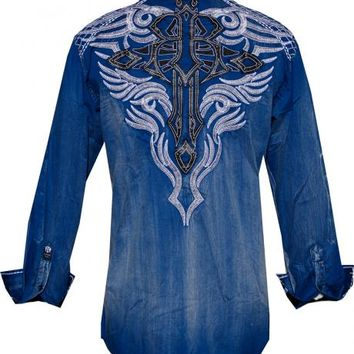 Roar Blue Uptown Embroidered Cross Shirt - Sheplers
