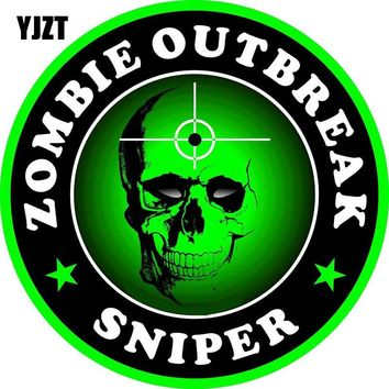 YJZT 15x15cm Personalized ZOMBIE Outbreak Sniper Decal Retro-reflective Motorcycle  Car Sticker C1-8033