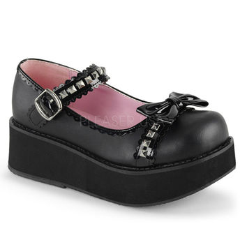 Demonia Black Pyramid Stud T-strap Bow Platforms