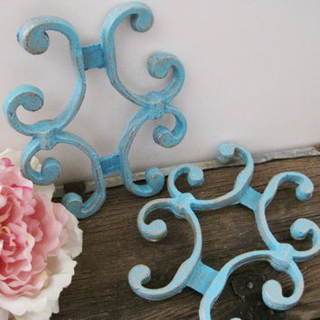 Metal Gate Fence Pieces Turquoise Wall Decor