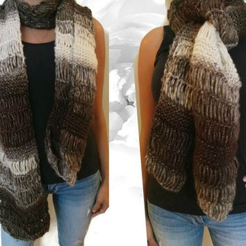 Handmade Knitted Scarf, Winter Scarf, Multicolor Scarf, Brown Scarf, Gold Scarf, Cream Scarf, Gray Scarf, Sequin Scarf, Autumn Scarf