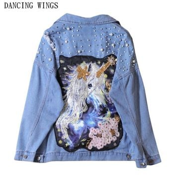 Trendy Novelty Sequins Cartoon Pattern Embroidery Denim Jacket Loose Light Blue Beading Pearls Ripped Holes Women's Coat AT_94_13