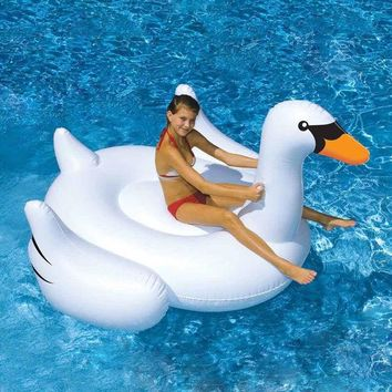 VONC1Y 150CM 60 inch Giant Swan Inflatable Ride-On Pool Toy Float inflatable swan pool Swim Ring Holiday Water Fun Pool Toys