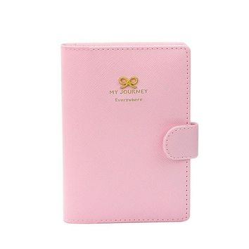 CUPUPQK Women leather card holder Business Passport Holder Protect Cover Case Organizer Sweet Bowknot Crown Buckles #YW