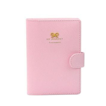 VOND4H Women leather card holder Business Passport Holder Protect Cover Case Organizer Sweet Bowknot Crown Buckles #YW