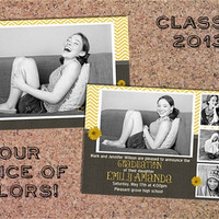 Double sided Graduation announcement (digital file only) You choose colors and print