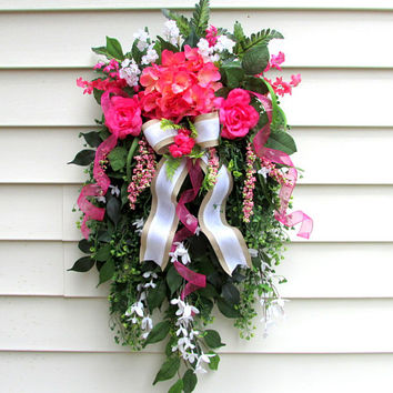 Summer door wreaths, door swag, front door swag, floral swags, hydrangea swag, wreaths for spring, swag wreath, cottage wreath, shabby chic