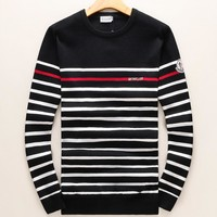 Moncler Fashion Women Men Casual Stripe Print Round Collar Pullover Top Sweater Black I-A00FS-GJ