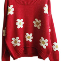 ROMWE | Daisy Knitted Red Jumper, The Latest Street Fashion
