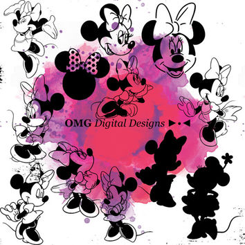 12 Minnie Mouse Digital Clipart, Clipart Design Elements, Instant Download, Black Silhouette Clip art