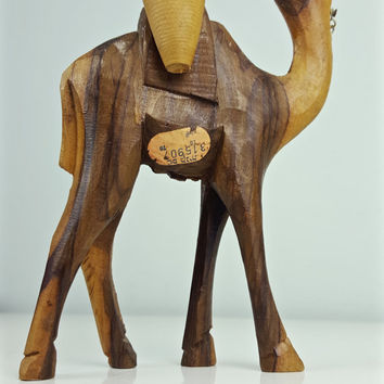 Vintage Carved Wood Camel, Middle East Carved Wood Camel, Israel Souvenir Camel, Boho Chic, Bohemian Decor, Animal Figurine, Camel Figurine