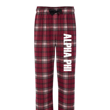 Alpha Phi Flannel Pants, Alpha Phi Loungewear, Sorority Greek Apparel, Sorority Letters, Sorority Clothing, Officially licensed